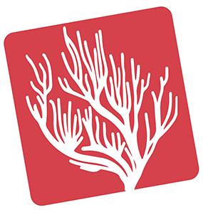 Bildmarke: Weiße Koralle auf rotem Grund